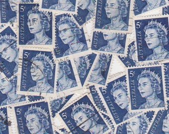 50 x The Queen in Blue Vintage Australian Postage Stamps for Altered Arts Collage Destash