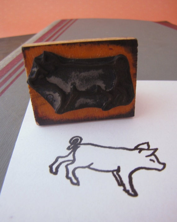 Vintage French Rubber Stamp Baby Pig Animal