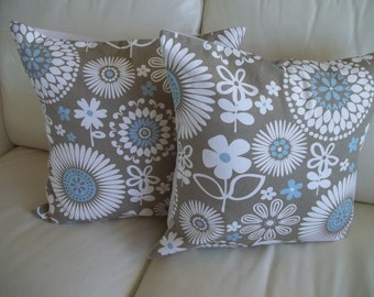 SALE  ~ Throw Pillow Covers 18 x 18 Set of 2 Modern Geometric Floral, Blue & Taupe