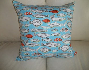 Throw Pillow Cover 18 x 18 Fish Pillow,  Blue and Orange