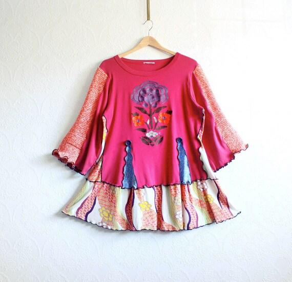 Boho Plus Size Tunic 1X 2X Fuchsia Shirt Purple Floral Orange Bell Sleeves Peasant Top Wearable Art Eco Fashion 'SABRINA'