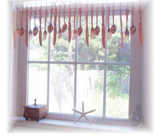 Classy Copper  Flatware Window Treatment  Valance