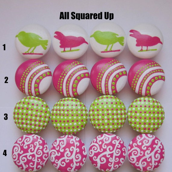 Set of 4-Pink-Green-White Drawer Knobs-Mix 'N Match-You choose which designs