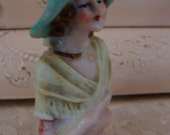 Antique Porcelain German Pin Cushion half Doll