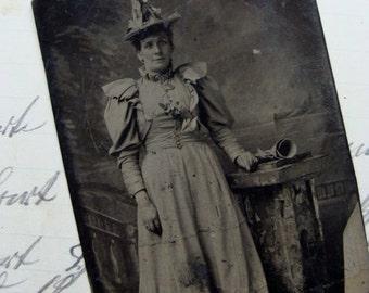 Antique Tin Type Photo Very Victorian Lady Hat