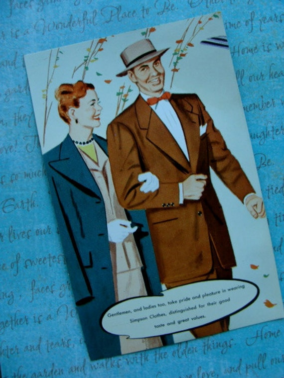 Awesome Advertisement Vintage Mad Man Type unused Postcard for Simpson Tailored Clothing Mercantile