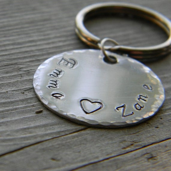 Customizable Stamped Key Chain Names Initials Words Shapes Round
