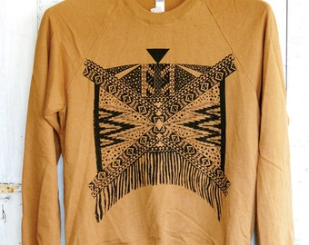 Xochitl - Unisex Sweatshirt in Camel and Black - by Simka Sol