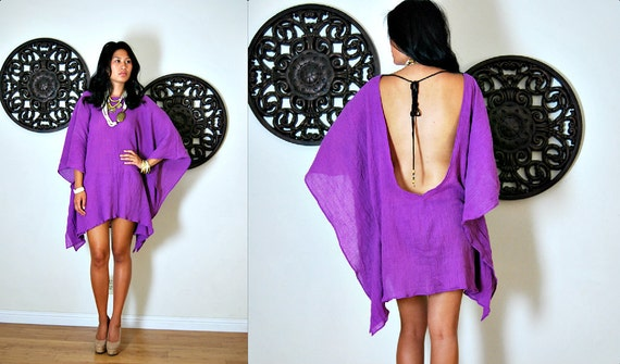Upcycled Vintage Purple Gauze PLUNGING Open Back Caftan Mini Dress Cover-Up S/M/L