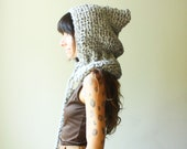 crochet hooded cowl with pom pom tassels. color confetti clay. one size. made to order.