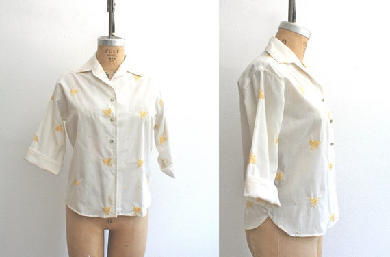 1950s blouse : Bee Embroidery Blouse - NOS