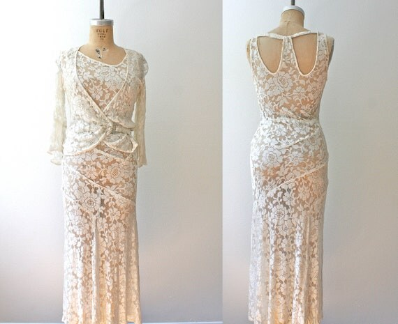 1920s dress : 20s lace dress - Wedding Ensemble