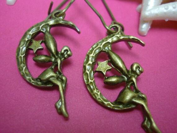 "Celestial Fairy Moon Earrings  2"""