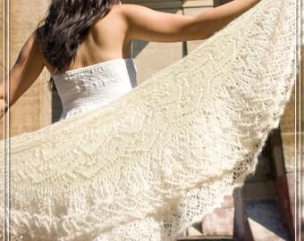 100% Kid Mohair Handspun Wedding (Heirloom) Shawl - Original Design