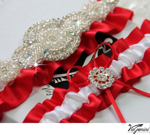 Red Wedding Garters: Items Similar To Red Wedding Garter Set , Bridal Garter