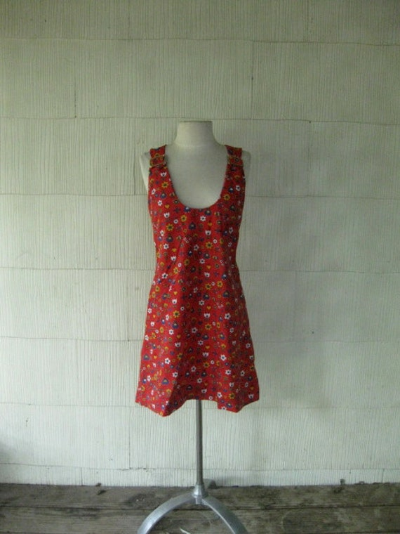 VINTAGE 70s floral hippie mini dress plunging neckline