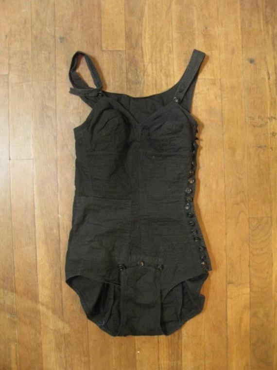 VINTAGE 40s black swimsuit playsuit