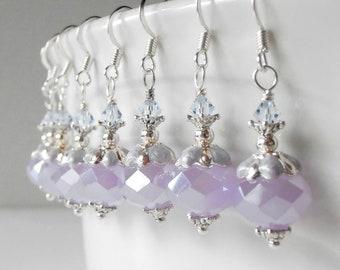 Lavender Earrings Crystal Dangles Beaded Jewelry Purple and Silver Faceted Crystal Earrings Handmade Easter Jewelry