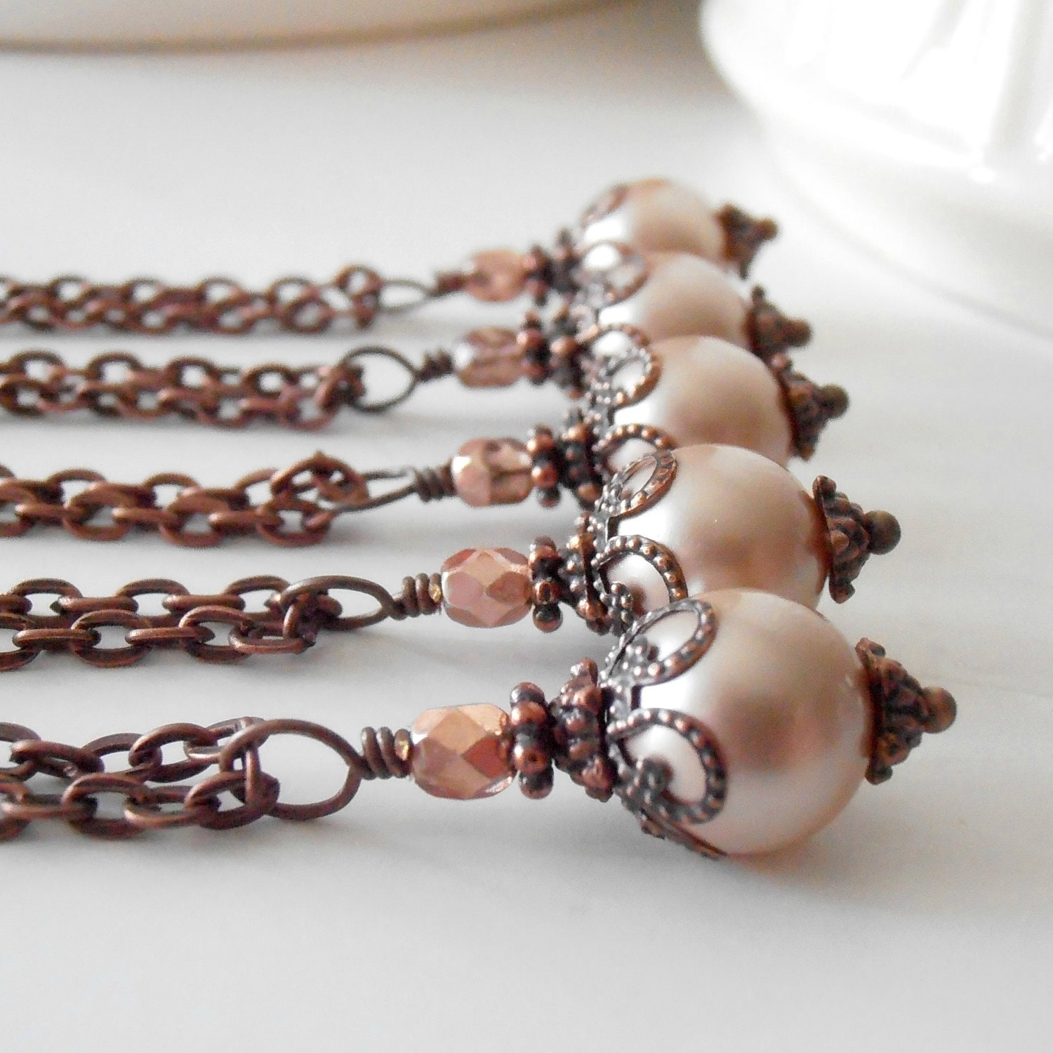 Blush pink bridesmaid jewelry sets pearl pendant necklace for Pink wedding jewelry sets