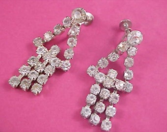 ART DECO  -  Articulated Dangle Diamante Rhinestone 1030's Screw Back Earrings