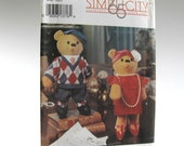 Vintage Decorative Stuffed Bear and Clothes Pattern, 1992, 15 Inch Tall, Simplicity