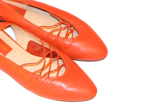 Vintage Orange Slingback Leather Pointed Toe Shoes - Women's Size 7.5 M - by L J Simone
