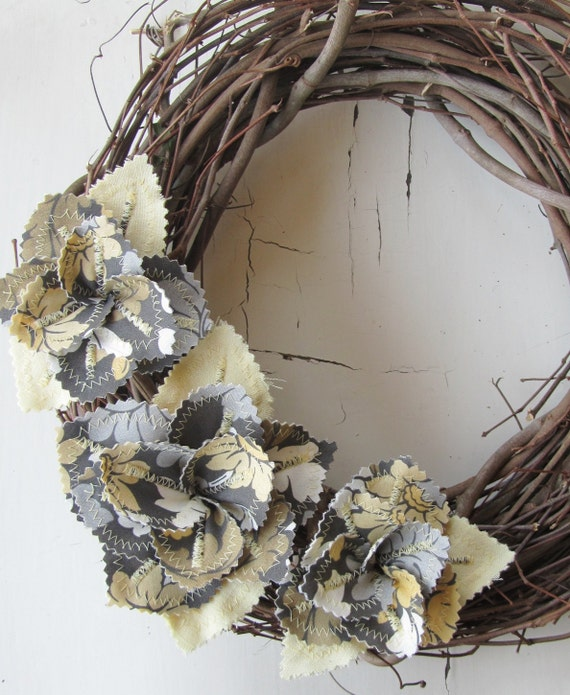 Fabric Flowers Leaves Spring Wreath- Grey Floral Yellow Gold Linen Door Decor