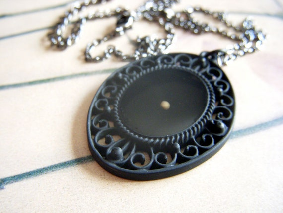 have a little faith...fancy black oval mustard seed resin pendant with dark silver gunmetal necklace