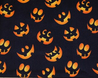 Fat Quarter Silly Halloween Jack O Lantern Faces on Black Backgorund