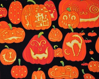 Fat Quarter Halloween Whimsical Carved Jack o Lanterns Fabric