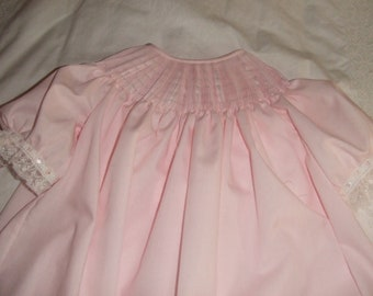 Ready to Smock Girls Bishop Style Dress Size18m, 24m, or  2 Made to Order You pick color French Handsewn Sleeves