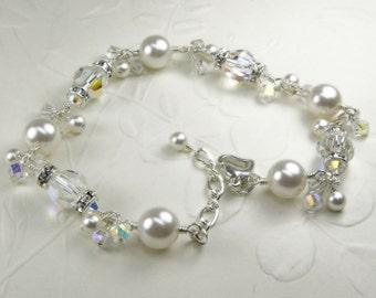 Pearl Crystal and Rhinestone Bracelet, Clear White Swarovski, Sterling Silver, Bride Accessory Bridal Wedding Handmade Jewelry June Birthday