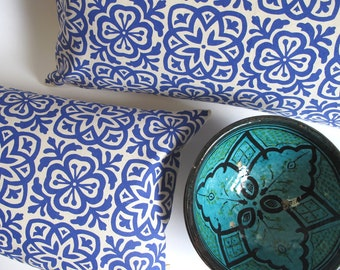 Moroccan Tile Slim Pillow in Royal Blue