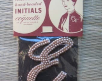 50s Imitation Pearl Sew On Applique Initial E 1950s Dead Stock New Old  Japan