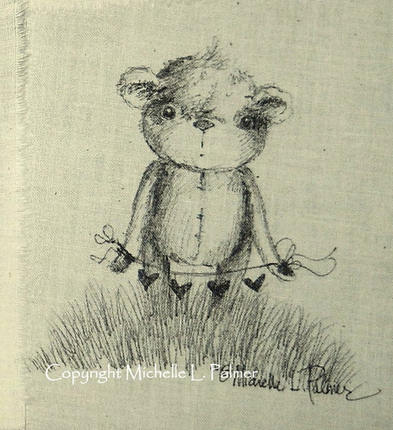 Original Pen Ink Fabric Art Illustration Teddy Bear on Natural Muslin Michelle Palmer