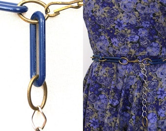 5 SALE // Vintage Chain Belt // 60s MOD navy blue and gold // 1960s 1970s 70s