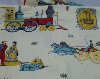 Vintage cotton 1820's scenery cream yellow fabric,train fabric,horses,women/men fabric,lugage fabric,sewing,crafting projects,costume making
