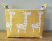 LARGE Fabric Organizer Basket Storage Container Bin Bucket Bag Diaper Holder Home Decor- Size Large - Yellow Giraffes