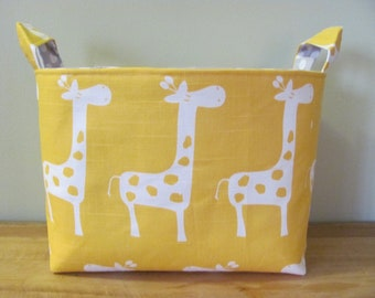 LARGE Fabric Organizer Basket Storage Container Bin Bucket Bag Diaper Holder Home Decor- Size Large - Yellow Giraffes