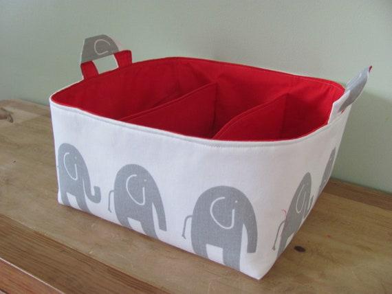 NEW Fabric Diaper Caddy - Fabric organizer storage bin basket - Perfect for your nursery - Grey Elephants