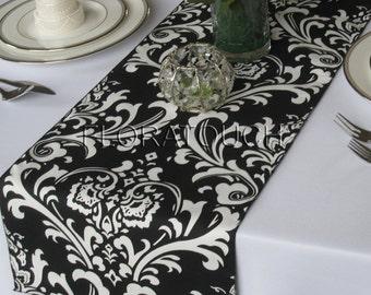 Traditions White on Black Damask Table Runner Wedding Table Runner