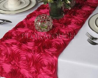 Hot Pink Satin Ribbon Rosette Wedding Table Runner