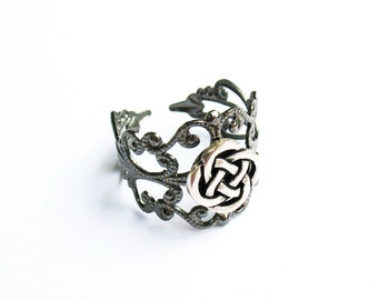 Celtic Knot Ring  - Gunmetal Vintage-Style Filigree Ring with Celtic Round Knot, Adjustable