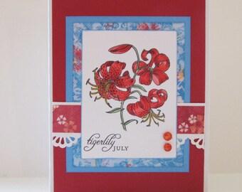 Reduced-Red Tigerlily Birthday Card