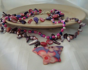 Pink and Purple Freshwater Pearls With Shell Butterfly Necklace-Tri Strand