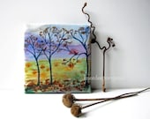 Autumn Leaves watercolor mini art on wood frame original ready to hang