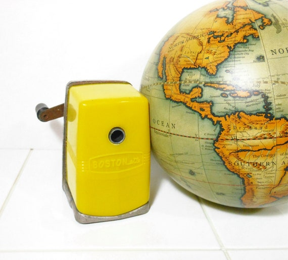 Vintage Pencil Sharpener Bostonette Yellow Metal School Plastic PeachyChicBoutique on Etsy