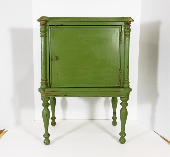 Vintage Table Wood Glass Top Metal Pie Safe Cabinet  Mid Century Furniture Avocado Green PeachyChicBoutique on Etsy