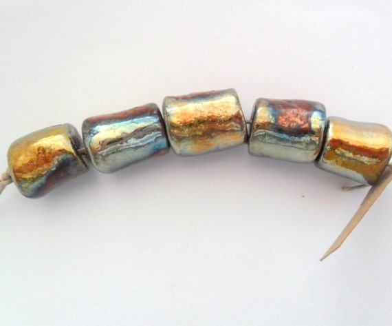 Barrel Shape Raku Fired Clay Beads - Set of 5
