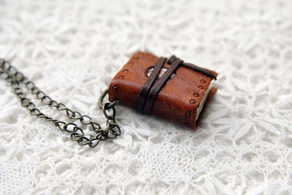 Prairie Wind - Mini Embossed Leather Wearable Book with Tea Stained Pages & Floral Fabric